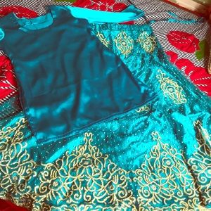 Dresses & Skirts - Palkistani Teal/blue lengha set